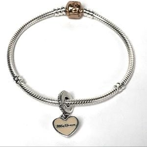 Pandora Mother Charm Moments Snake Chain Bracelet